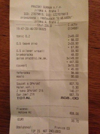 the printed bill picture of u vejvodu prague tripadvisor