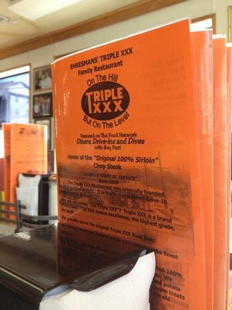 Triple XXX Family Restaurant: the menu