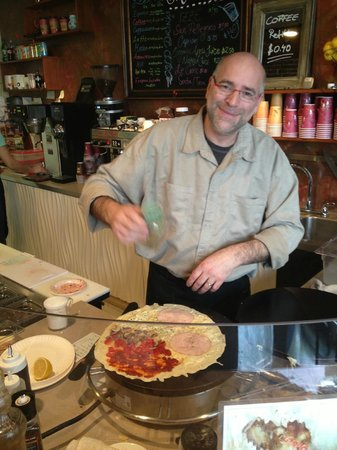 Penny Path Cafe: Miro is creative making yummy crepes!!!