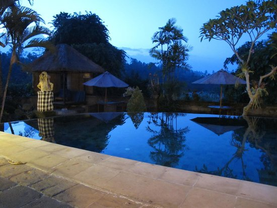 Alam Indah: pool view at dusk