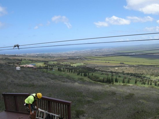 Flyin Hawaiian Zipline: Your view from one of the ziplines!