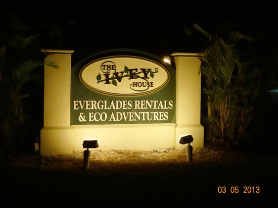 Ivey House: The sign you are looking for at night