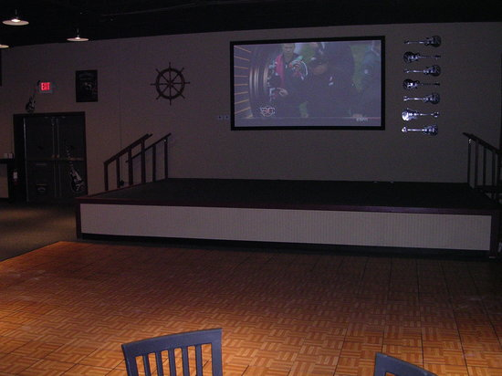 Riptides sports bar: stage and dance floor