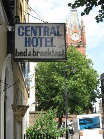 Central Hotel: Street view from entrance, King's Cross/St. Pancras in background