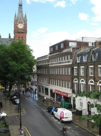 Central Hotel: Street view from room window, King's Cross/St. Pancras in background