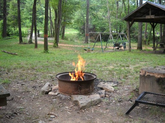 Catawba Falls Campground: Campsite view and enjoying a beer