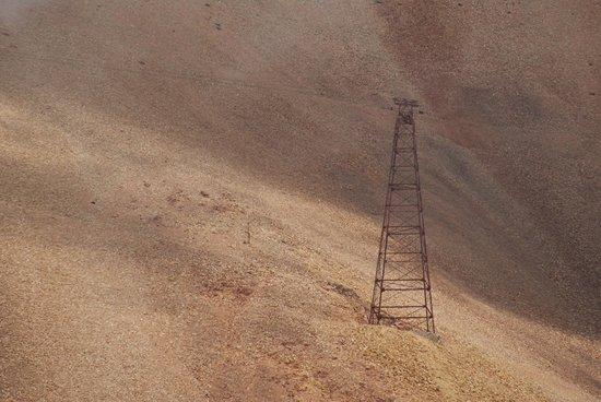 La Mejicana Mine: Torre del Cablecarril oculta por nube