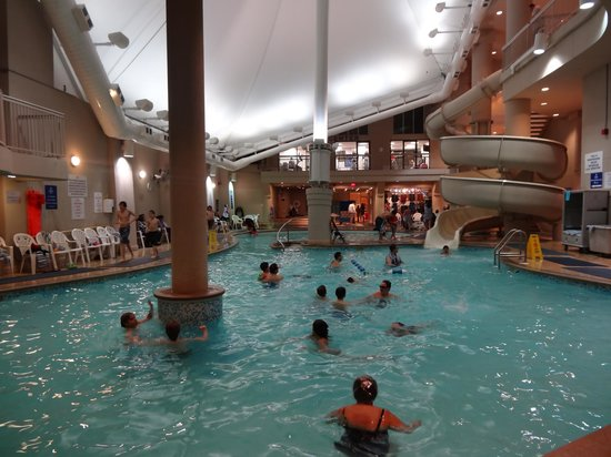 Indoor pool with waterslide  Indoor pool and waterslide - Picture of Hilton Niagara Falls ...