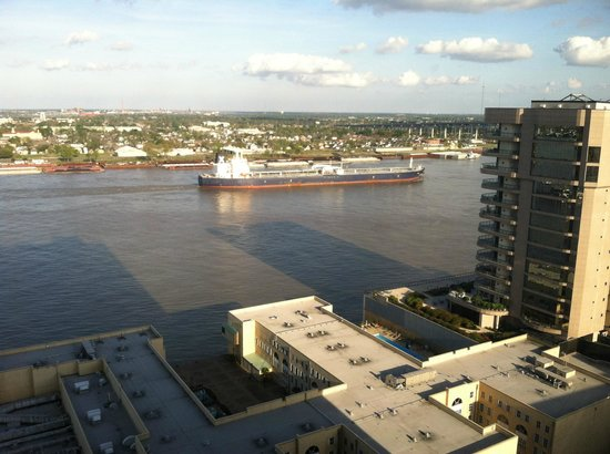 Hilton New Orleans Riverside: View from Room 2027 looking east across the Mississippi River