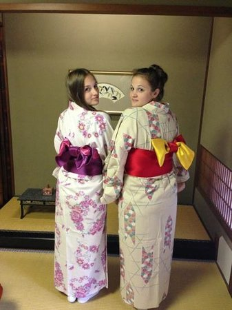 Kinosaki Onsen Nishimuraya Honkan: Our summer Yukata's (requires help to get dressed in)