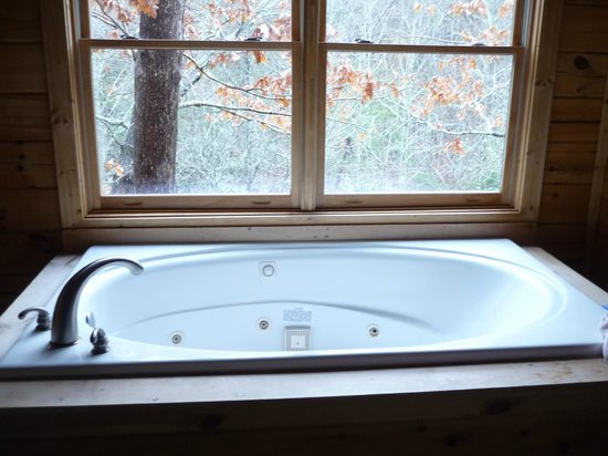 My Cabin Vacation: Jacuzzi Tub and view from Master Suite