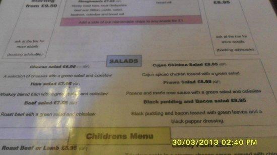 The Bluebell Inn: Salad Menu