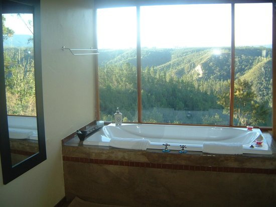 Forest Valley Cottages: Glory Dawn tree-top unit jacuuzi/spa bath with a wow view!
