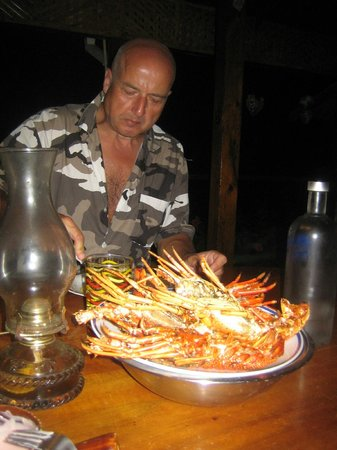 Zion Country Beach Cabins: Great lobster dinner