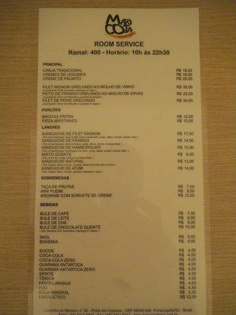 Hotel Porto Sol Quality: Lista de precios del Salón Comedor