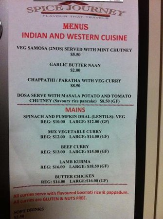 Spice Journey: The menu. weekly specials on Facebook page