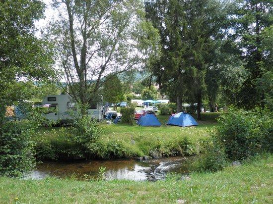 Camping des Lacs: emplacements arborés en bord de rivière