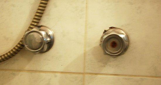 Hotel Albatros: Damaged shower.