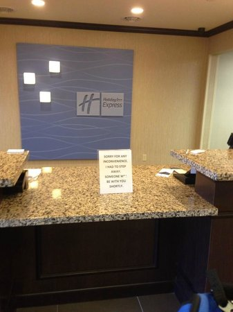 Holiday Inn Express Hotel & Suites WHEELING: Front Desk At Checkout.  No one appeared after 22 minutes.