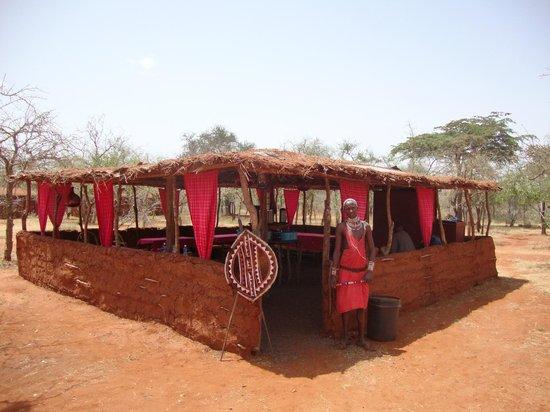 Muteleu Maasai Traditional Village: Welcome to the village restaurant.