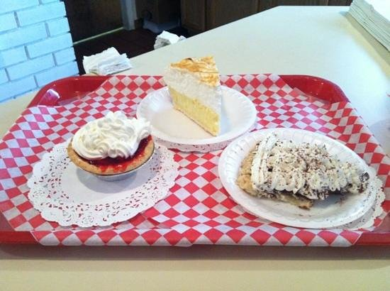 Black Bear Cafe: fresh strawberry tarts, homemade chocolate and coconut pie.