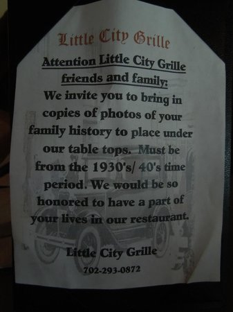 Little City Grille : An Invite to bring pictures of your family heritage