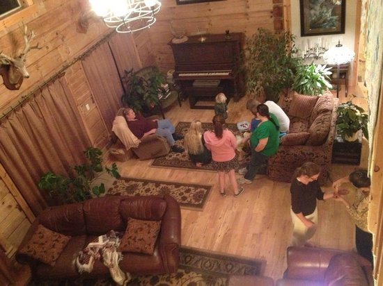 Mt. Emily Ranch: Gathering in the downstairs living room, near the piano, the lovely fireplace is on the other si