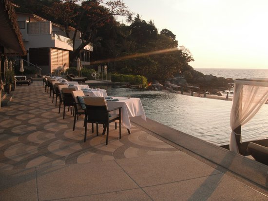 The Shore at Katathani: The Harbor Restaurant with Infinity Pool at Sunset