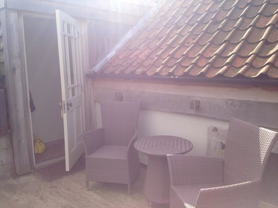 Wiveton Bell Rooms: Patio area outside library room