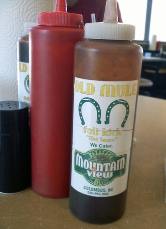 Mountain View BBQ & Deli: Old Mule Full Kick Hot Sauce is One Variety of Sauce.
