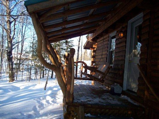 Josselyn's Getaway Log Cabins: The deck of Brookside