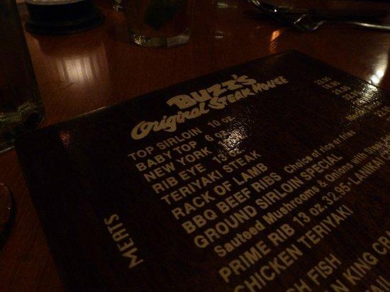 Buzz's Original Steak House: Part of the menu