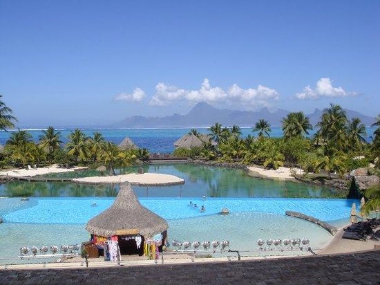 Moorea Green Pearl Golf Course : View of Moorea from Balcony of the Intercontinental Hotel on Tahiti