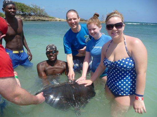 """Dolphin Cove: Neil and the girls go """"hands-on"""" with a stingray"""