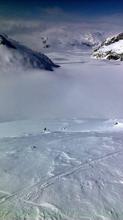 Alaska Powder Descents: i'm the little black down in the middle left, ha!
