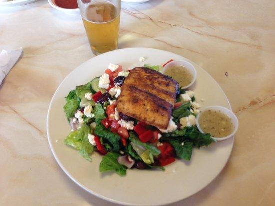 Moonlite Diner: Greek salad with mahi mahi