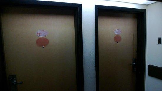 Sleep Inn Garner : Doors in need of TLC  PVC door oval are like $14.99