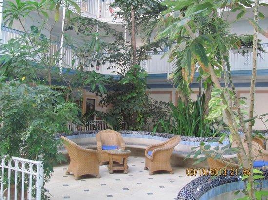 Le Beach Hôtel: interieur de l'hotel avec ses plantes et oiseaux