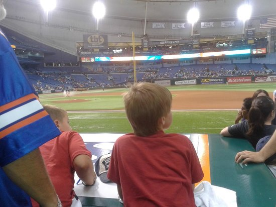 Tropicana Field: 3rd row (Lower Infield Box) behind the Rays dugout...