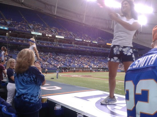 Tropicana Field: A cheerleader and home plate...