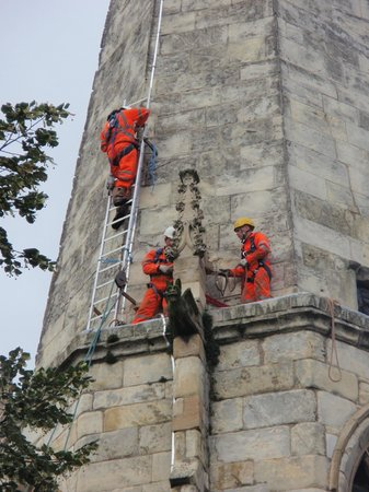 York St Mary's Contemporary Art Space: Steeple Jacks building their ladder