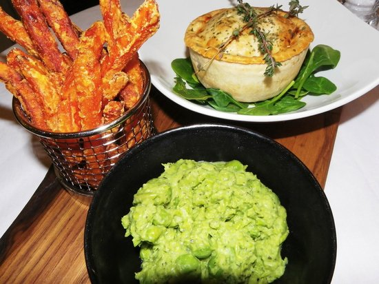 Cream: Pieminister Pie, Mushy Peas and sweet potato fries