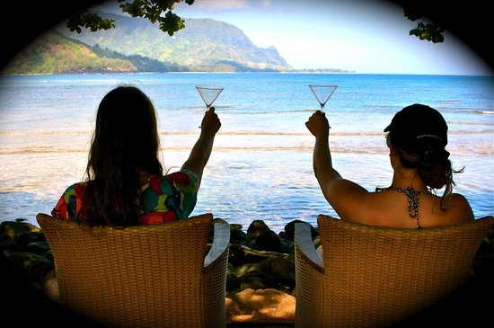 St. Regis Princeville Resort: early morning you have the area almost to yourself- unbeatable!