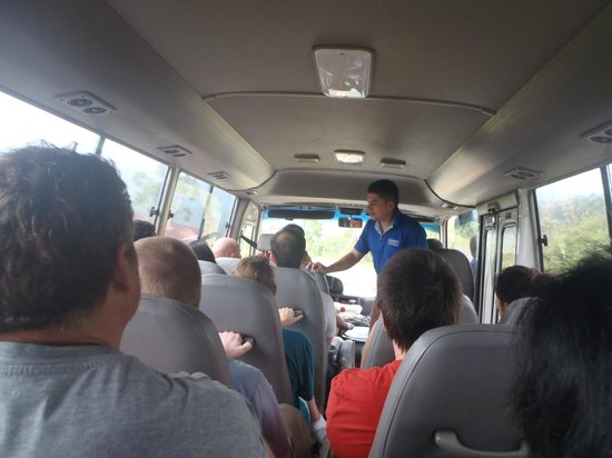 Exploradores Outdoors: Instruction on the bus prior to trip