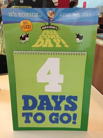 Ben & Jerry's: free cone day - 9 Apr 2013!