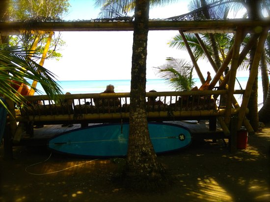 Boca Sombrero: Our beachfront bench.  Great for relaxing and enjoying the breeze.