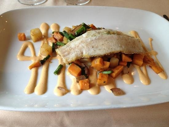Terra Bistro: trout with sweet tater and asparagus hash