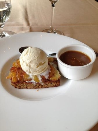 Terra Bistro: banana bread pudding, grilled bananas, banana ice cream, and rum caramel sauce