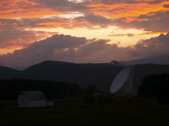 National Radio Astronomy Observatory: Green Bank telescope at sunset
