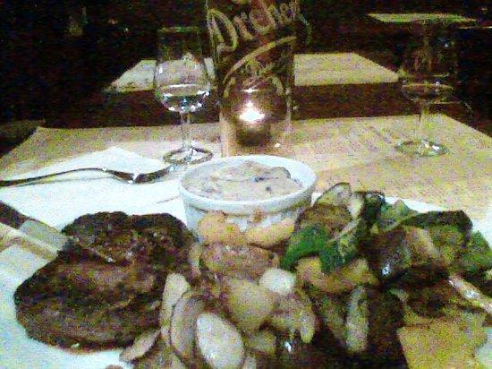 Mediterran Bistro: Beefsteak with Diana cream, brandy, onion & mushroom sauce. sides: steak potatoes & grilled vegg